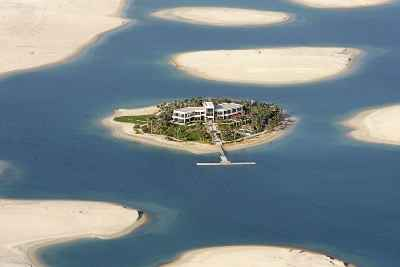 A small Dubai island nestles in the ocean